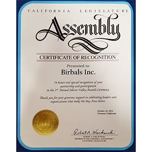 Assembly Certificate of Recognition image